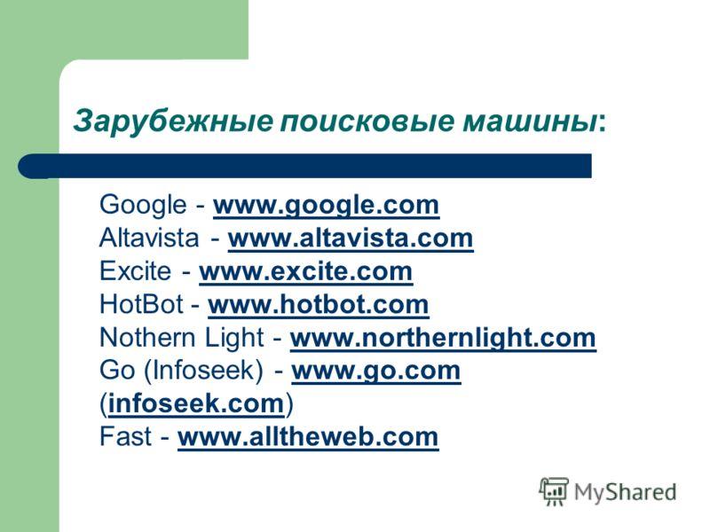 Зарубежные поисковые машины: Google - www.google.com Altavista - www.altavista.com Excite - www.excite.com HotBot - www.hotbot.com Nothern Light - www.northernlight.com Go (Infoseek) - www.go.com (infoseek.com) Fast - www.alltheweb.comwww.google.comw