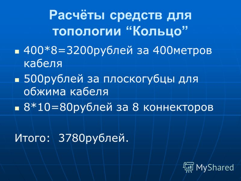 Расчёты средств для топологии Кольцо 400*8=3200рублей за 400метров кабеля 500рублей за плоскогубцы для обжима кабеля 8*10=80рублей за 8 коннекторов Итого: 3780рублей.