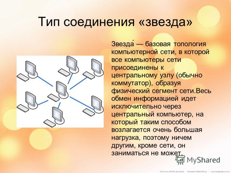 Тип соединения «звезда» Звезда́ базовая топология компьютерной сети, в которой все компьютеры сети присоединены к центральному узлу (обычно коммутатор), образуя физический сегмент сети.Весь обмен информацией идет исключительно через центральный компь