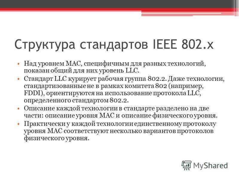 Над уровнем MAC, специфичным для разных технологий, показан общий для них уровень LLC. Стандарт LLC курирует рабочая группа 802.2. Даже технологии, стандартизованные не в рамках комитета 802 (например, FDDI), ориентируются на использование протокола