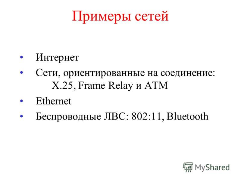 Примеры сетей Интернет Сети, ориентированные на соединение: X.25, Frame Relay и ATM Ethernet Беспроводные ЛВС: 802:11, Bluetooth