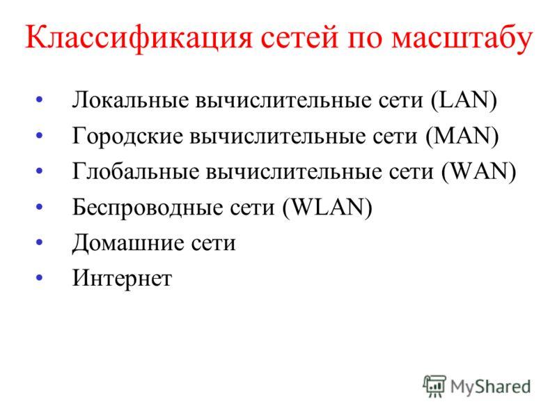 Классификация сетей по масштабу Локальные вычислительные сети (LAN) Городские вычислительные сети (MAN) Глобальные вычислительные сети (WAN) Беспроводные сети (WLAN) Домашние сети Интернет