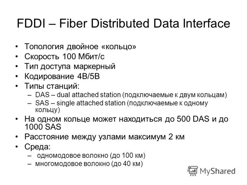 FDDI – Fiber Distributed Data Interface Топология двойное «кольцо» Скорость 100 Мбит/с Тип доступа маркерный Кодирование 4В/5В Типы станций: –DAS – dual attached station (подключаемые к двум кольцам) –SAS – single attached station (подключаемые к одн