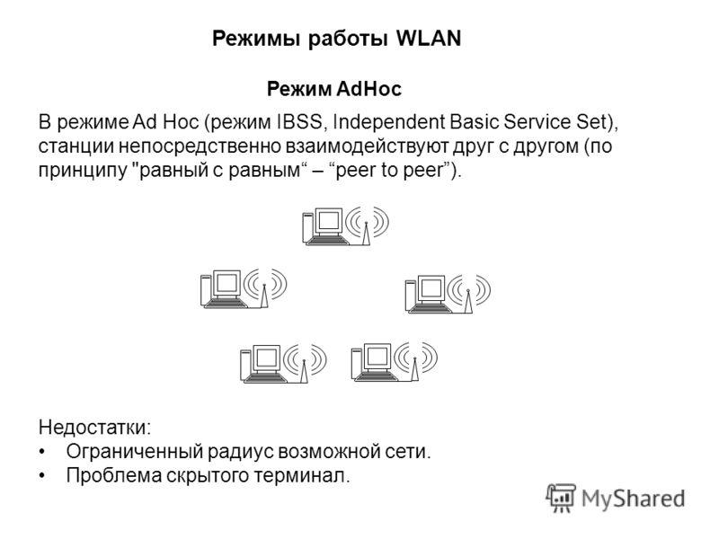В режиме Ad Hoc (режим IBSS, Independent Basic Service Set), станции непосредственно взаимодействуют друг с другом (по принципу
