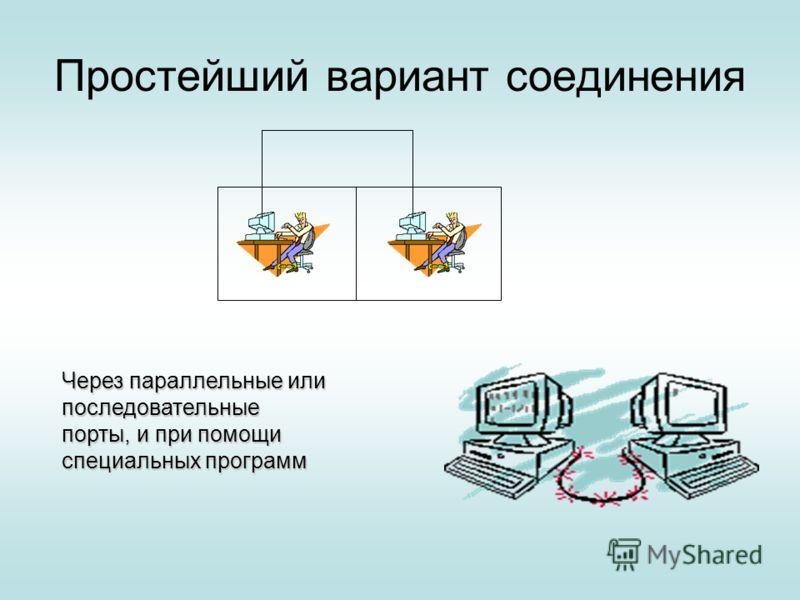 Простейший вариант соединения Через параллельные или последовательные порты, и при помощи специальных программ