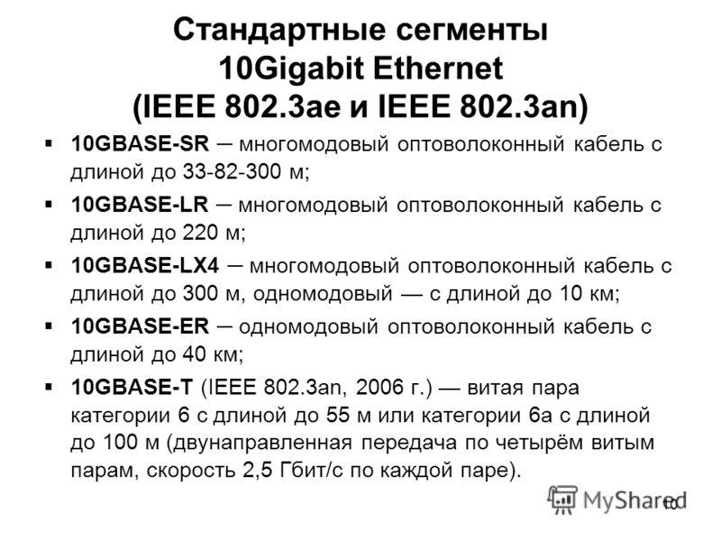 10 Стандартные сегменты 10Gigabit Ethernet (IEEE 802.3ae и IEEE 802.3an) 10GBASE-SR многомодовый оптоволоконный кабель с длиной до 33-82-300 м; 10GBASE-LR многомодовый оптоволоконный кабель с длиной до 220 м; 10GBASE-LX4 многомодовый оптоволоконный к
