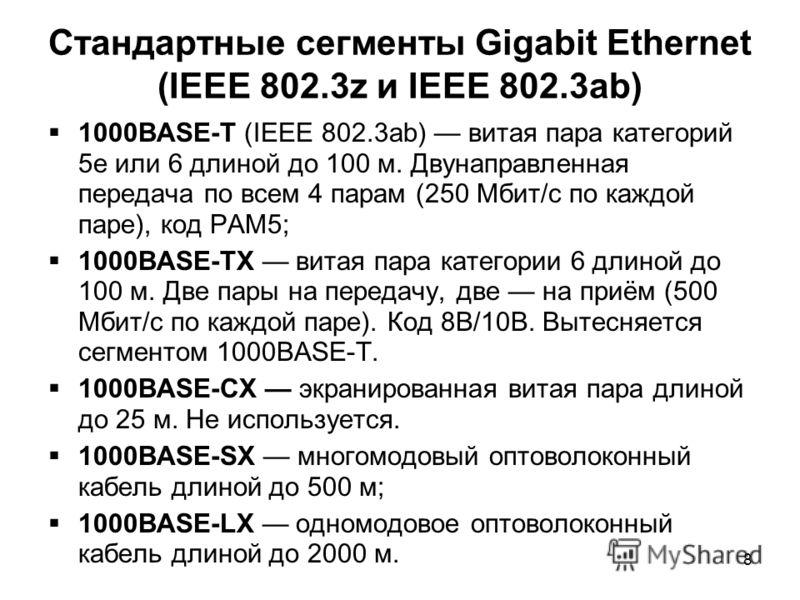 8 Стандартные сегменты Gigabit Ethernet (IEEE 802.3z и IEEE 802.3ab) 1000BASE-T (IEEE 802.3ab) витая пара категорий 5e или 6 длиной до 100 м. Двунаправленная передача по всем 4 парам (250 Мбит/с по каждой паре), код PAM5; 1000BASE-TX витая пара катег
