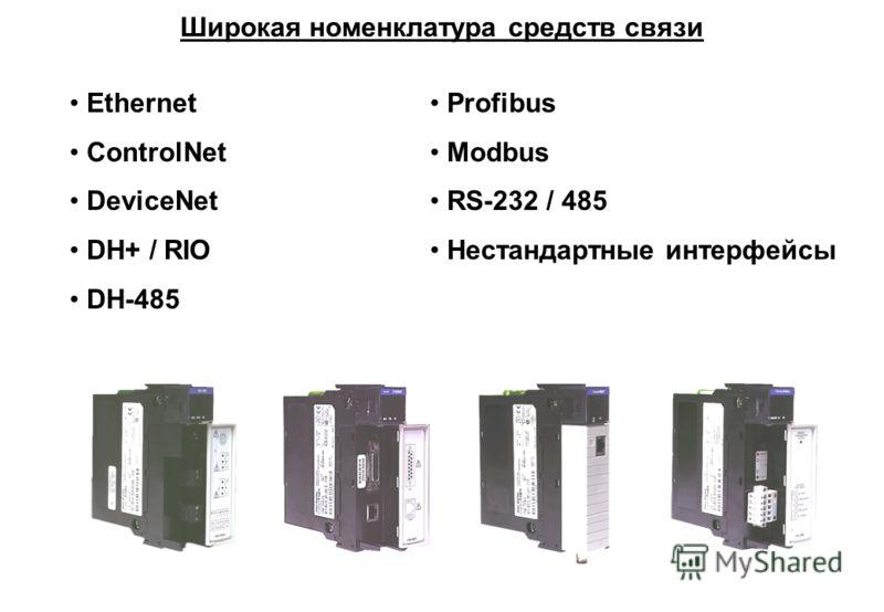 Ethernet ControlNet DeviceNet DH+ / RIO DH-485 Profibus Modbus RS-232 / 485 Нестандартные интерфейсы Широкая номенклатура средств связи