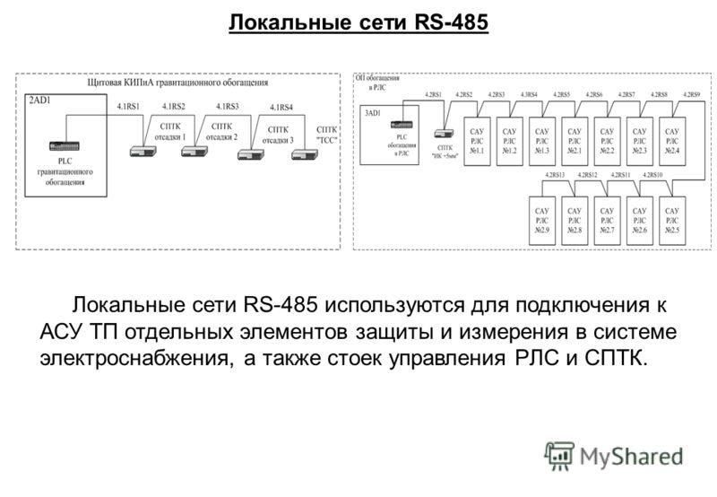 Локальные сети RS-485 Локальные сети RS-485 используются для подключения к АСУ ТП отдельных элементов защиты и измерения в системе электроснабжения, а также стоек управления PЛC и СПТК.