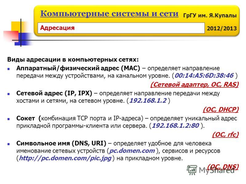 ГрГУ им. Я.Купалы 2012/2013 Компьютерные системы и сети Виды адресации в компьютерных сетях: Аппаратный/физический адрес (МАС) – определяет направление передачи между устройствами, на канальном уровне. (00:14:A5:6D:38:46 ) (Сетевой адаптер, ОС, RAS)
