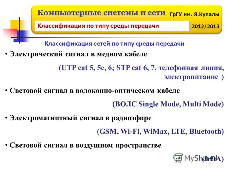 ГрГУ им. Я.Купалы 2012/2013 Компьютерные системы и сети Электрический сигнал в медном кабеле (UTP cat 5, 5e, 6; STP cat 6, 7, телефонная линия, электропитание ) Световой сигнал в волоконно-оптическом кабеле (ВОЛС Single Mode, Multi Mode) Электромагни