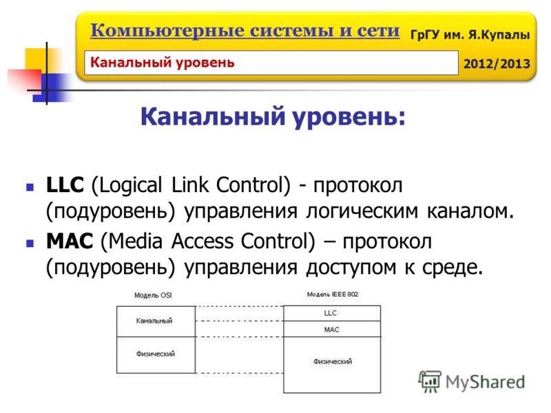 ГрГУ им. Я.Купалы 2012/2013 Компьютерные системы и сети Канальный уровень: LLC (Logical Link Control) - протокол (подуровень) управления логическим каналом. MAC (Media Access Control) – протокол (подуровень) управления доступом к среде. Канальный уро