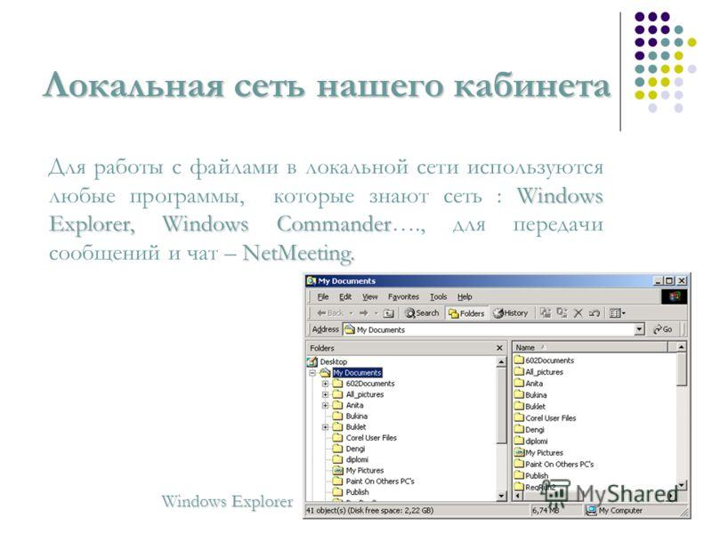 Локальная сеть нашего кабинета Windows Explorer, Windows Commander NetMeeting. Для работы с файлами в локальной сети используются любые программы, которые знают сеть : Windows Explorer, Windows Commander…., для передачи сообщений и чат – NetMeeting.