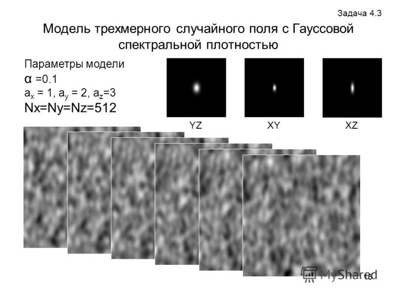 16 Модель трехмерного случайного поля с Гауссовой спектральной плотностью Параметры модели α =0.1 a x = 1, a y = 2, a z =3 Nx=Ny=Nz=512 XY XZ YZ Задача 4.3