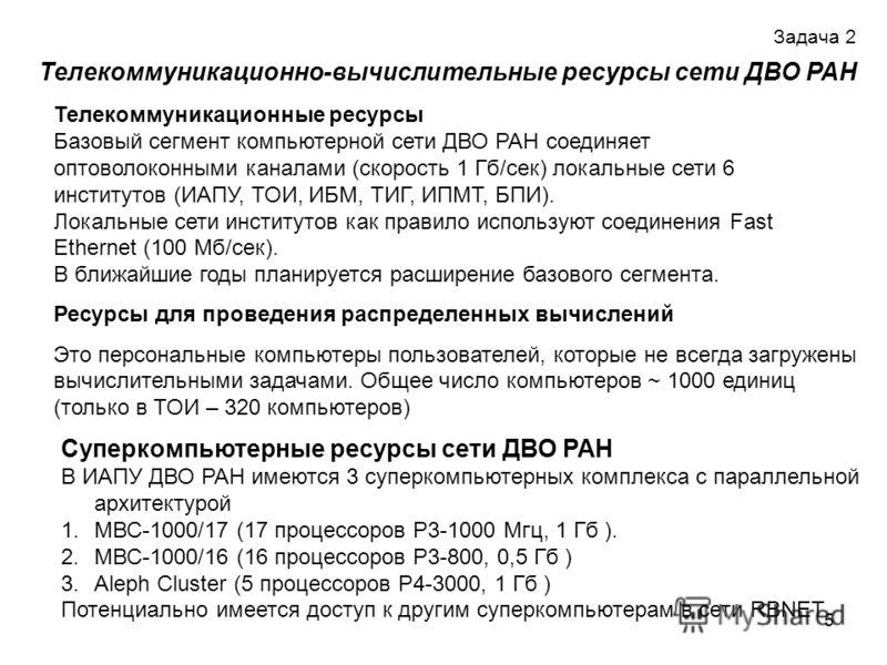 5 Телекоммуникационно-вычислительные ресурсы сети ДВО РАН Телекоммуникационные ресурсы Базовый сегмент компьютерной сети ДВО РАН соединяет оптоволоконными каналами (скорость 1 Гб/сек) локальные сети 6 институтов (ИАПУ, ТОИ, ИБМ, ТИГ, ИПМТ, БПИ). Лока