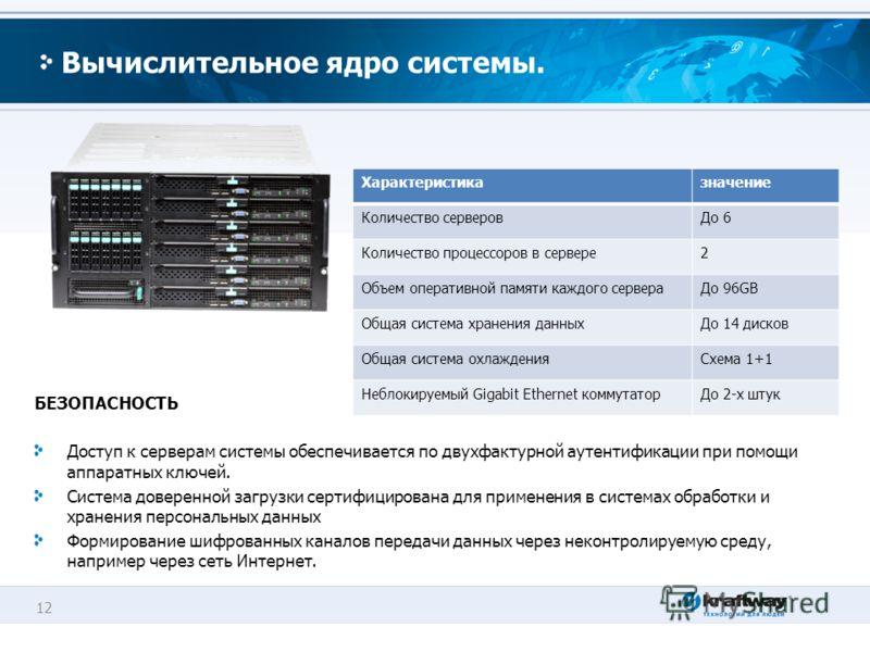 12 Вычислительное ядро системы. БЕЗОПАСНОСТЬ Доступ к серверам системы обеспечивается по двухфактурной аутентификации при помощи аппаратных ключей. Система доверенной загрузки сертифицирована для применения в системах обработки и хранения персональны