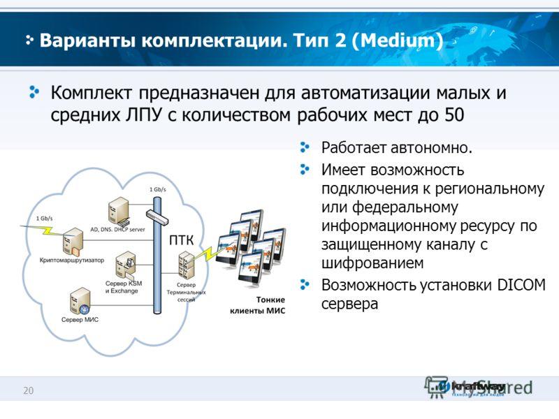20 Варианты комплектации. Тип 2 (Medium) Комплект предназначен для автоматизации малых и средних ЛПУ с количеством рабочих мест до 50 Работает автономно. Имеет возможность подключения к региональному или федеральному информационному ресурсу по защище