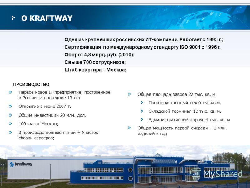 5 О KRAFTWAY Первое новое IT-предприятие, построенное в России за последние 15 лет Открытие в июне 2007 г. Общие инвестиции 20 млн. дол. 100 км. от Москвы; 3 производственные линии + Участок сборки серверов; Общая площадь завода 22 тыс. кв. м. Произв