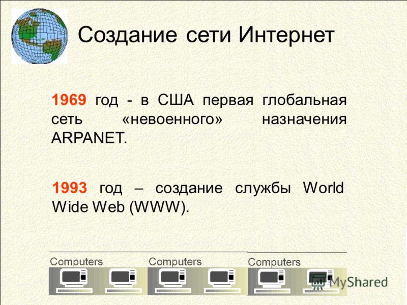 Создание сети Интернет 1969 год - в США первая глобальная сеть «невоенного» назначения ARPANET. 1993 год – создание службы World Wide Web (WWW).