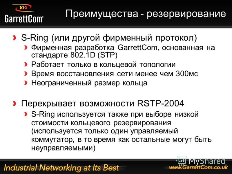 14 Преимущества - резервирование S-Ring (или другой фирменный протокол) Фирменная разработка GarrettCom, основанная на стандарте 802.1D (STP) Работает только в кольцевой топологии Время восстановления сети менее чем 300мс Неограниченный размер кольца