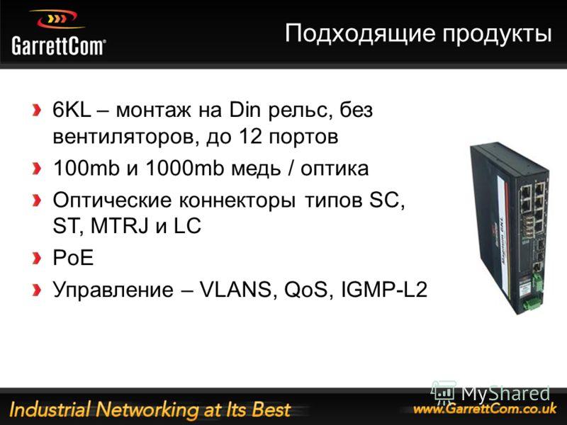 25 Подходящие продукты 6KL – монтаж на Din рельс, без вентиляторов, до 12 портов 100mb и 1000mb медь / оптика Оптические коннекторы типов SC, ST, MTRJ и LC PoE Управление – VLANS, QoS, IGMP-L2