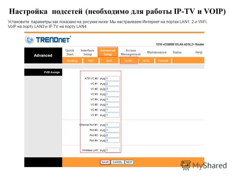 Настройка подсетей (необходимо для работы IP-TV и VOIP) Установите параметры как показано на рисунке ниже. Мы настраиваем Интернет на портах LAN1, 2 и WiFi, VoIP на порту LAN3 и IP TV на порту LAN4