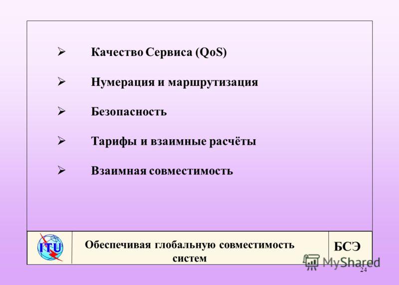 БСЭ 24 Качество Сервиса (QoS) Нумерация и маршрутизация Безопасность Тарифы и взаимные расчёты Взаимная совместимость Обеспечивая глобальную совместимость систем