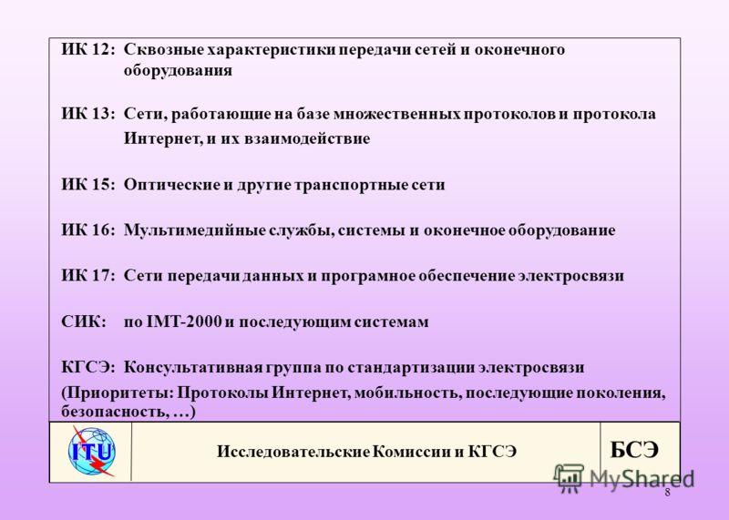 БСЭ 8 Исследовательские Комиссии и КГСЭ ИК 12:Сквозные характеристики передачи сетей и оконечного оборудования ИК 13:Сети, работающие на базе множественных протоколов и протокола Интернет, и их взаимодействие ИК 15:Оптические и другие транспортные се