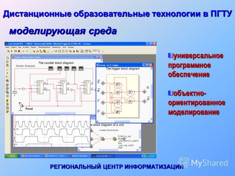 Дистанционные образовательные технологии в ПГТУ универсальное программное обеспечение объектно- ориентированное моделирование моделирующая среда РЕГИОНАЛЬНЫЙ ЦЕНТР ИНФОРМАТИЗАЦИИ
