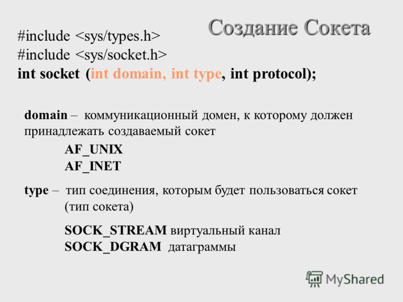 Создание Сокета #include int socket (int domain, int type, int protocol); domain – коммуникационный домен, к которому должен принадлежать создаваемый сокет AF_UNIX AF_INET type – тип соединения, которым будет пользоваться сокет (тип сокета) SOCK_STRE