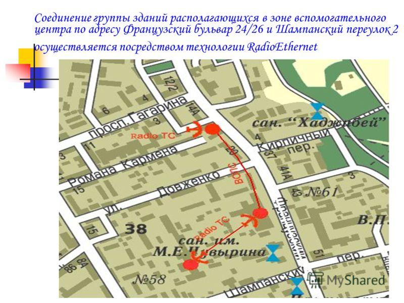 Соединение группы зданий располагающихся в зоне вспомогательного центра по адресу Французский бульвар 24/26 и Шампанский переулок 2 осуществляется посредством технологии RadioEthernet