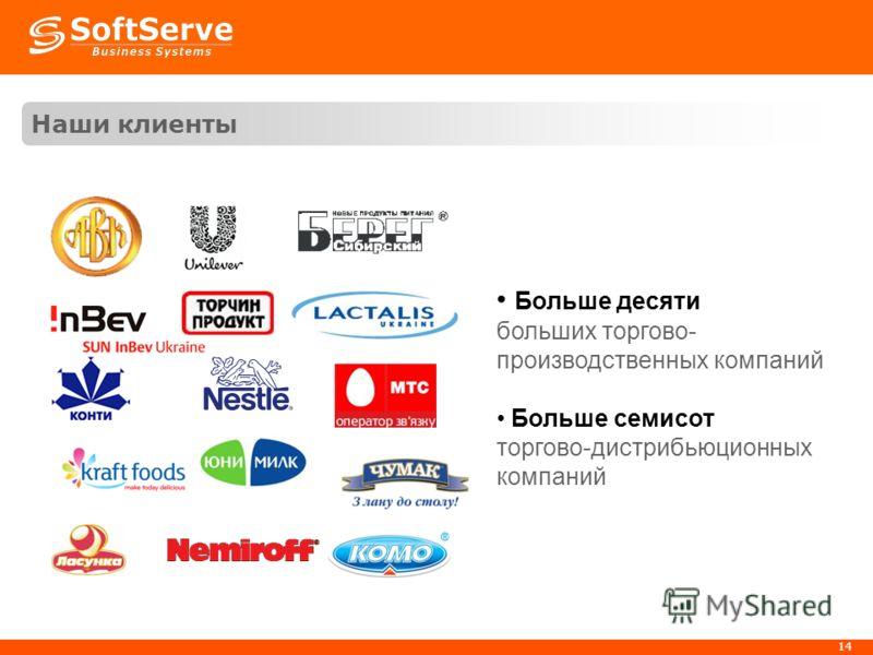 14 Наши клиенты Больше десяти больших торгово- производственных компаний Больше семисот торгово-дистрибьюционных компаний