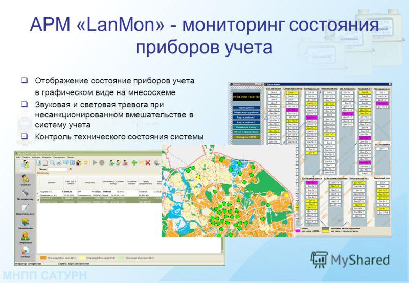 АРМ «LanMon» - мониторинг состояния приборов учета Отображение состояние приборов учета в графическом виде на мнесосхеме Звуковая и световая тревога при несанкционированном вмешательстве в систему учета Контроль технического состояния системы