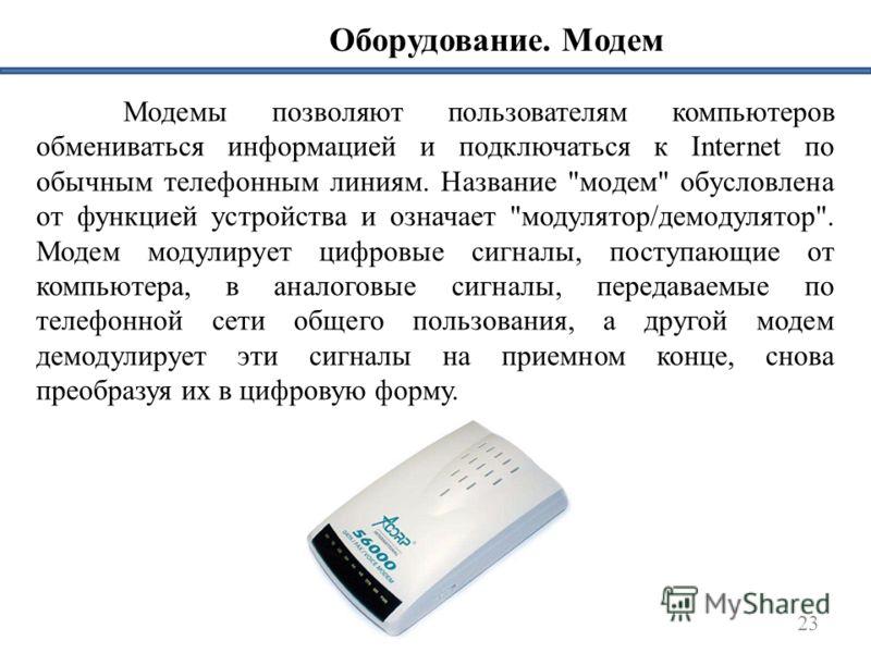 Оборудование. Модем 23 Модемы позволяют пользователям компьютеров обмениваться информацией и подключаться к Internet по обычным телефонным линиям. Название