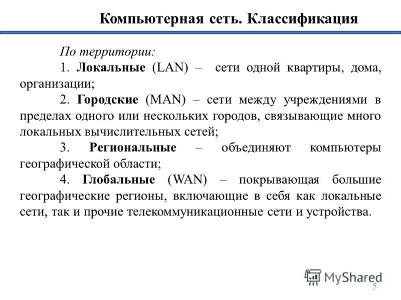 Компьютерная сеть. Классификация По территории: 1. Локальные (LAN) – сети одной квартиры, дома, организации; 2. Городские (MAN) – сети между учреждениями в пределах одного или нескольких городов, связывающие много локальных вычислительных сетей; 3. Р