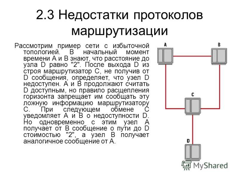 2.3 Недостатки протоколов маршрутизации Рассмотрим пример сети с избыточной топологией. В начальный момент времени А и B знают, что расстояние до узла D равно
