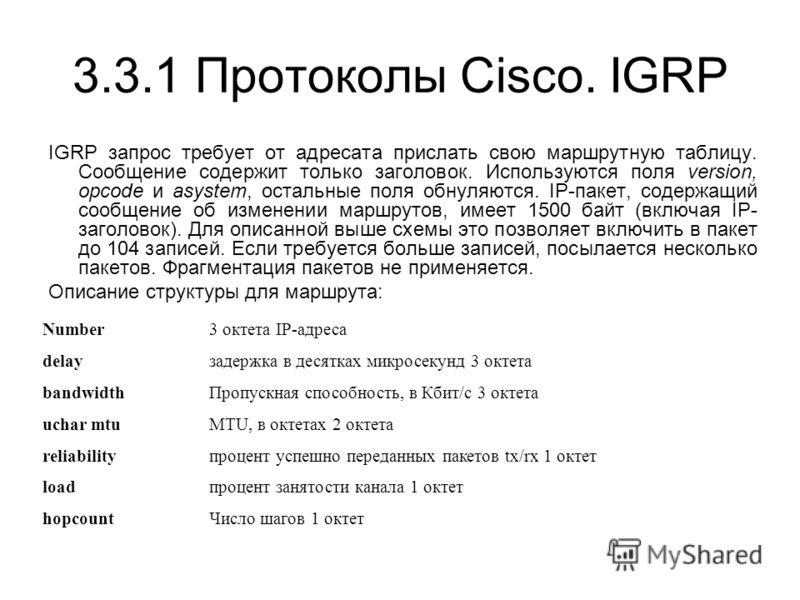 3.3.1 Протоколы Cisco. IGRP IGRP запрос требует от адресата прислать свою маршрутную таблицу. Сообщение содержит только заголовок. Используются поля version, opcode и asystem, остальные поля обнуляются. IP-пакет, содержащий сообщение об изменении мар
