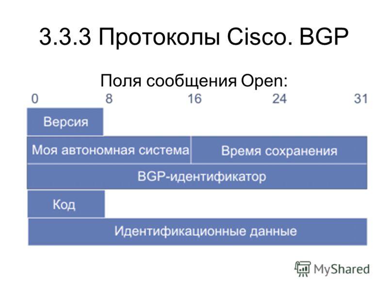 3.3.3 Протоколы Cisco. BGP Поля сообщения Open: