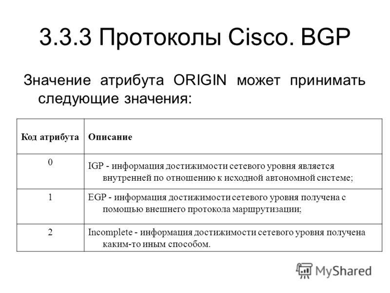 3.3.3 Протоколы Cisco. BGP Значение атрибута ORIGIN может принимать следующие значения: Код атрибутаОписание 0 IGP - информация достижимости сетевого уровня является внутренней по отношению к исходной автономной системе; 1EGP - информация достижимост