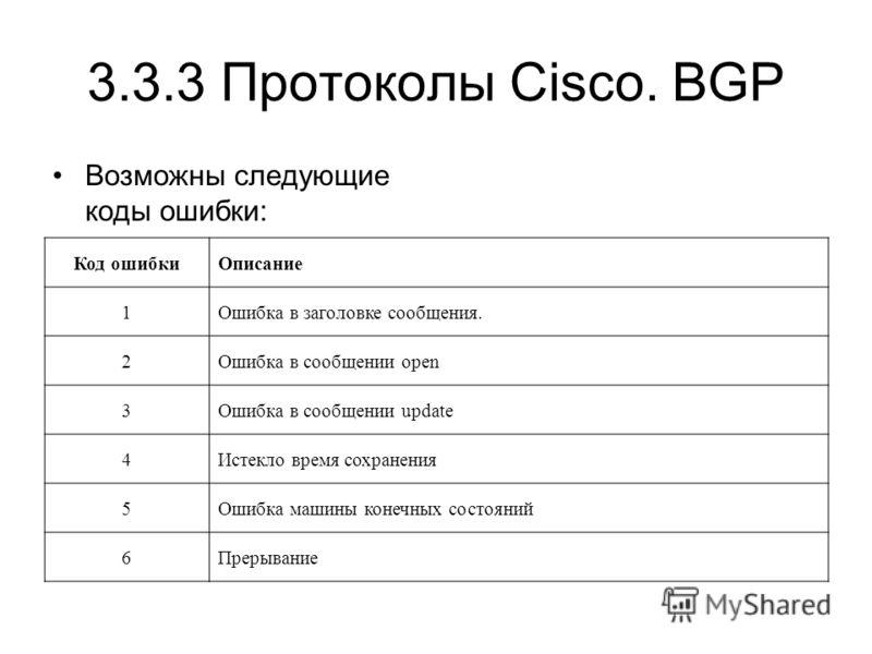 3.3.3 Протоколы Cisco. BGP Возможны следующие коды ошибки: Код ошибкиОписание 1Ошибка в заголовке сообщения. 2Ошибка в сообщении open 3Ошибка в сообщении update 4Истекло время сохранения 5Ошибка машины конечных состояний 6Прерывание
