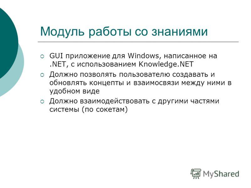 Модуль работы со знаниями GUI приложение для Windows, написанное на.NET, с использованием Knowledge.NET Должно позволять пользователю создавать и обновлять концепты и взаимосвязи между ними в удобном виде Должно взаимодействовать с другими частями си