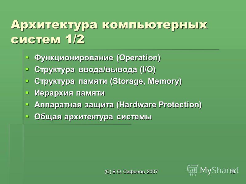 (C) В.О. Сафонов, 200716 Архитектура компьютерных систем 1/2 Функционирование (Operation) Функционирование (Operation) Структура ввода/вывода (I/O) Структура ввода/вывода (I/O) Структура памяти (Storage, Memory) Структура памяти (Storage, Memory) Иер