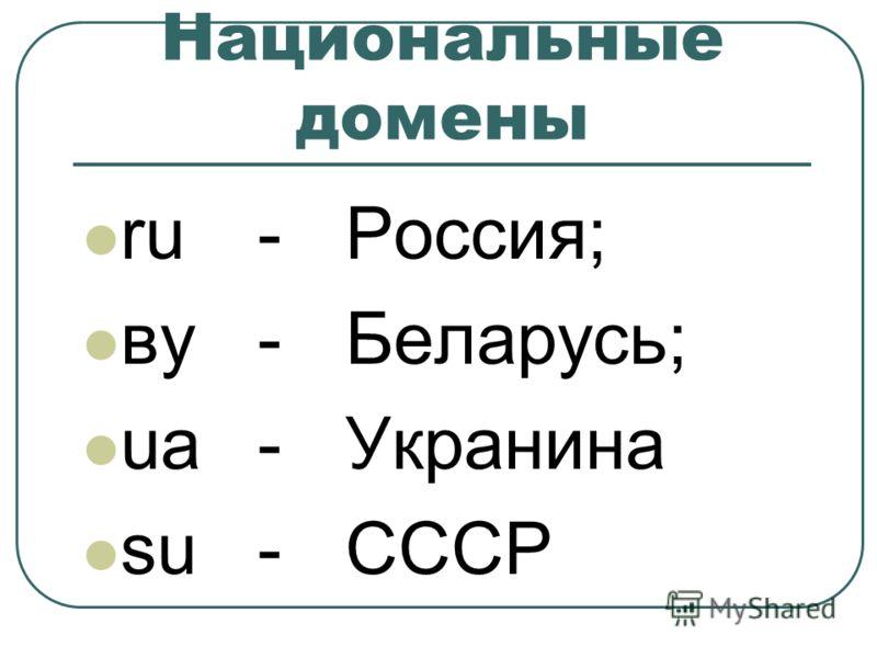 Национальные домены ru-Россия; вy-Беларусь; ua-Укранина su-СССР