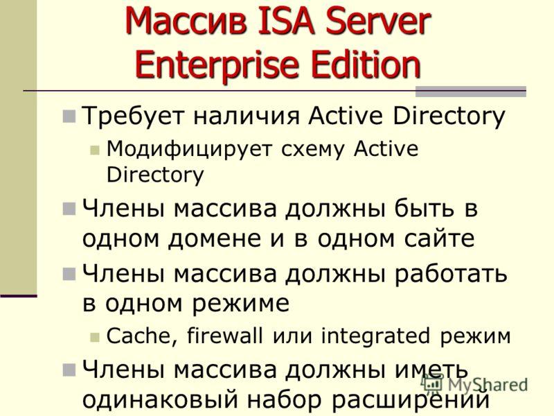 Массив ISA Server Enterprise Edition Требует наличия Active Directory Модифицирует схему Active Directory Члены массива должны быть в одном домене и в одном сайте Члены массива должны работать в одном режиме Cache, firewall или integrated режим Члены