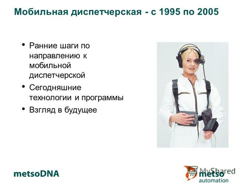 Мобильная диспетчерская - с 1995 по 2005 Ранние шаги по направлению к мобильной диспетчерской Сегодняшние технологии и программы Взгляд в будущее