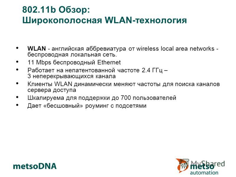 802.11b Обзор: Широкополосная WLAN-технология WLAN - английская аббревиатура от wireless local area networks - беспроводная локальная сеть. 11 Mbps беспроводный Ethernet Работает на непатентованной частоте 2.4 ГГц – 3 неперекрывающихся канала Клиенты