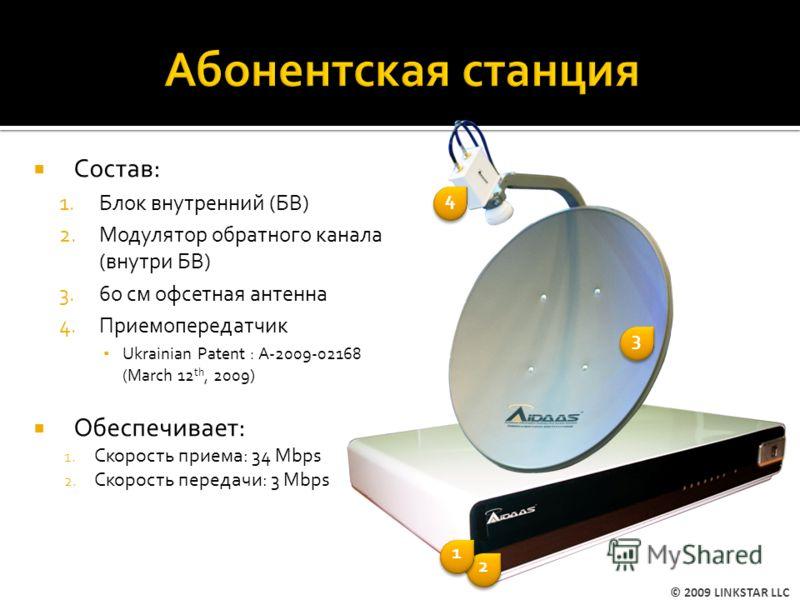 Состав: 1.Блок внутренний (БВ) 2.Модулятор обратного канала (внутри БВ) 3.6o cм офсетная антенна 4.Приемопередатчик Ukrainian Patent : A-2009-02168 (March 12 th, 2009) Обеспечивает: 1. Скорость приема: 34 Mbps 2. Скорость передачи: 3 Mbps 2 2 3 3 1 1
