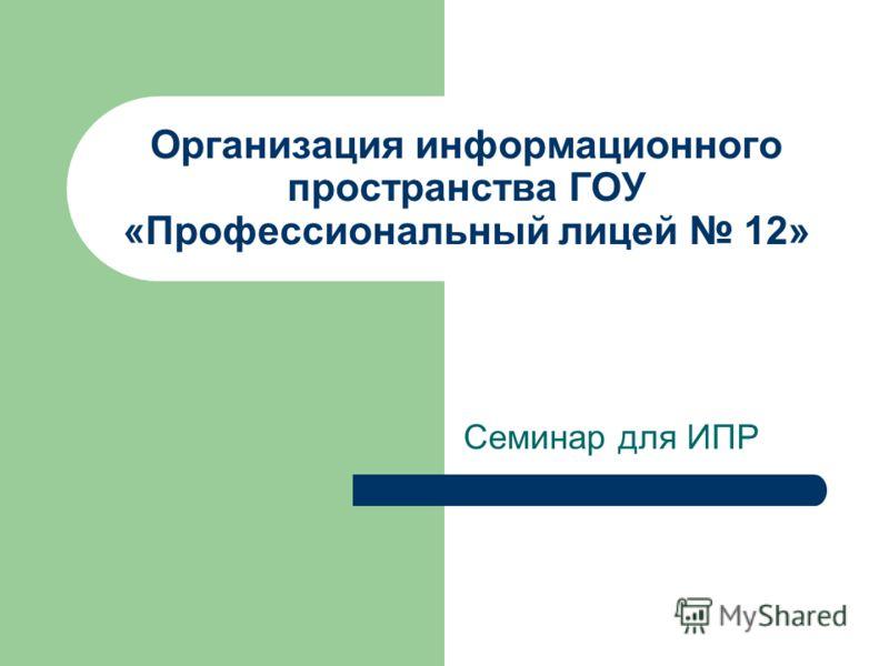 Организация информационного пространства ГОУ «Профессиональный лицей 12» Семинар для ИПР