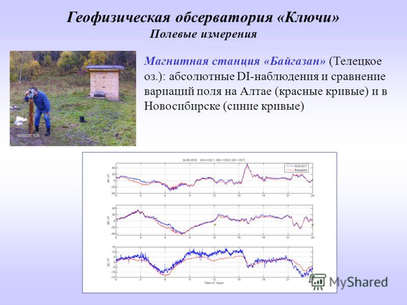 Магнитная станция «Байгазан» (Телецкое оз.): абсолютные DI-наблюдения и сравнение вариаций поля на Алтае (красные кривые) и в Новосибирске (синие кривые) Геофизическая обсерватория «Ключи» Полевые измерения