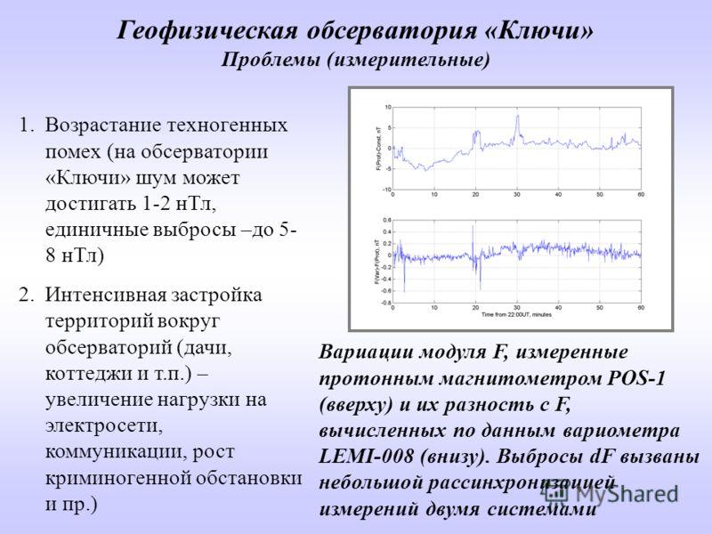 1.Возрастание техногенных помех (на обсерватории «Ключи» шум может достигать 1-2 нТл, единичные выбросы –до 5- 8 нТл) 2.Интенсивная застройка территорий вокруг обсерваторий (дачи, коттеджи и т.п.) – увеличение нагрузки на электросети, коммуникации, р